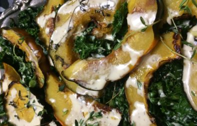 Roasted Acorn Squash & Kale with Maple Tahini Dressing