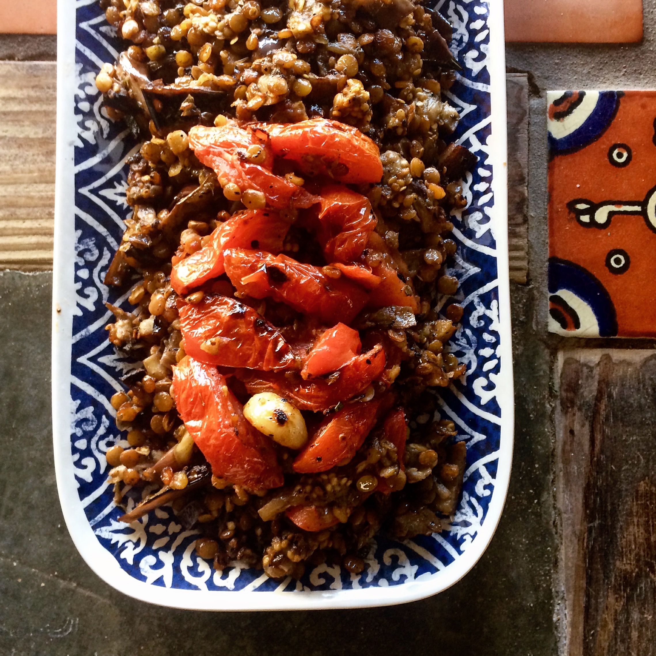 Broiled Eggplant with Tomatoes & Lentils